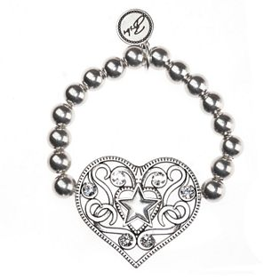 The Claudia Ball Bead Filigree Heart Bracelet with Crystals. Was £49.95, is now £25.00